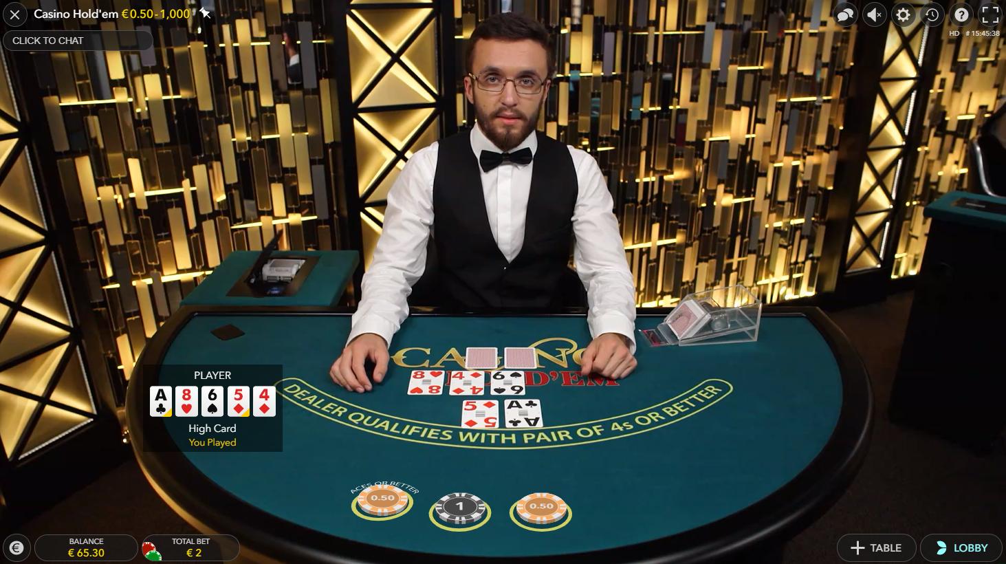 Casino Hold'em evolution gaming