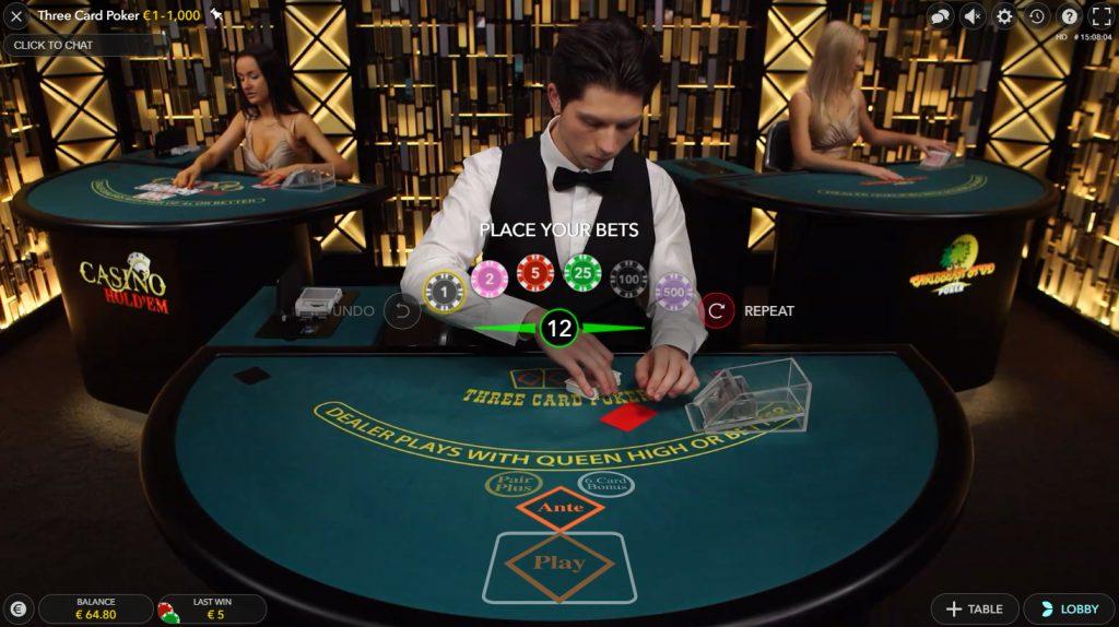 live three card poker evolution