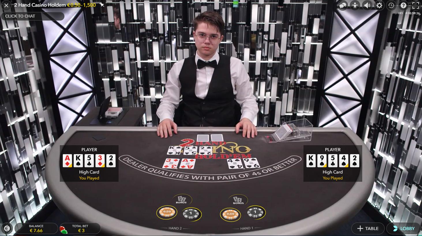 2 Hand Casino Hold'em evolution gaming
