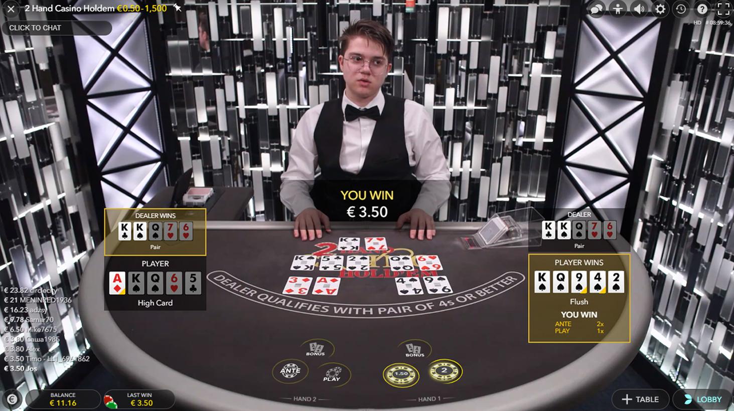 2 Hand Casino Hold'em evolution