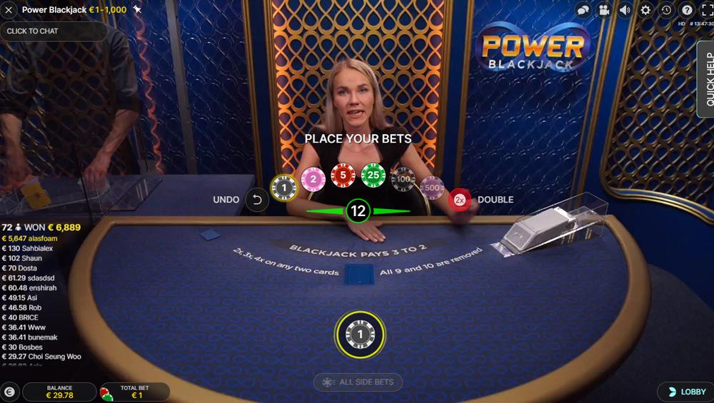 Power Blackjack inzetbedragen