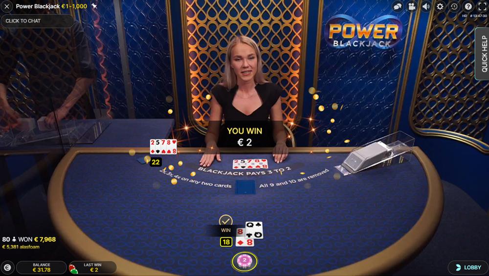Power blackjack uitbetaling