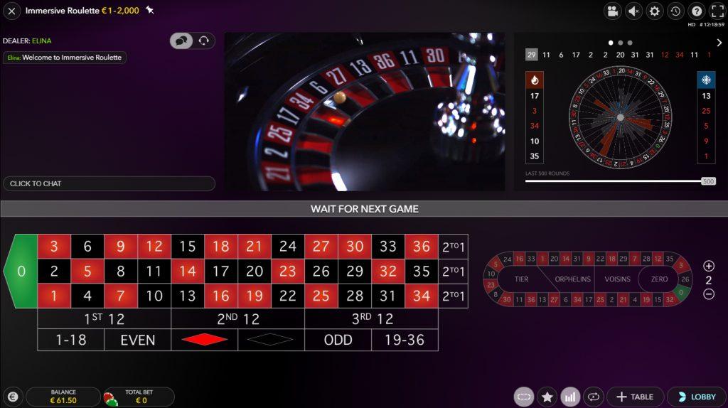 bildschirmfoto immersive roulette