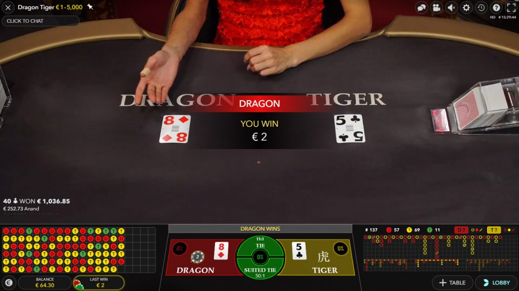 live dragon tiger casino