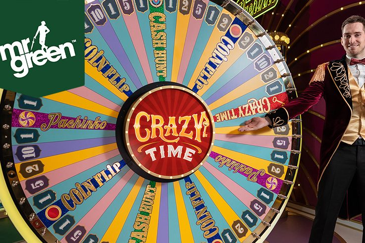 Play Evolution Gaming's Brand New Crazy Time at Mr Green to Win Awesome Prizes!