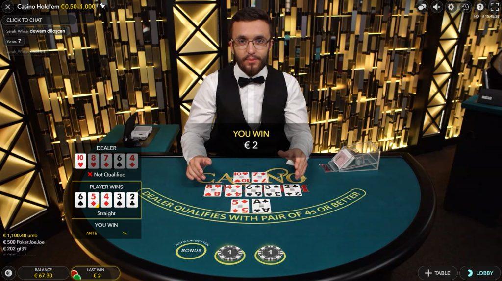 live casino holdem evolution gaming spiele