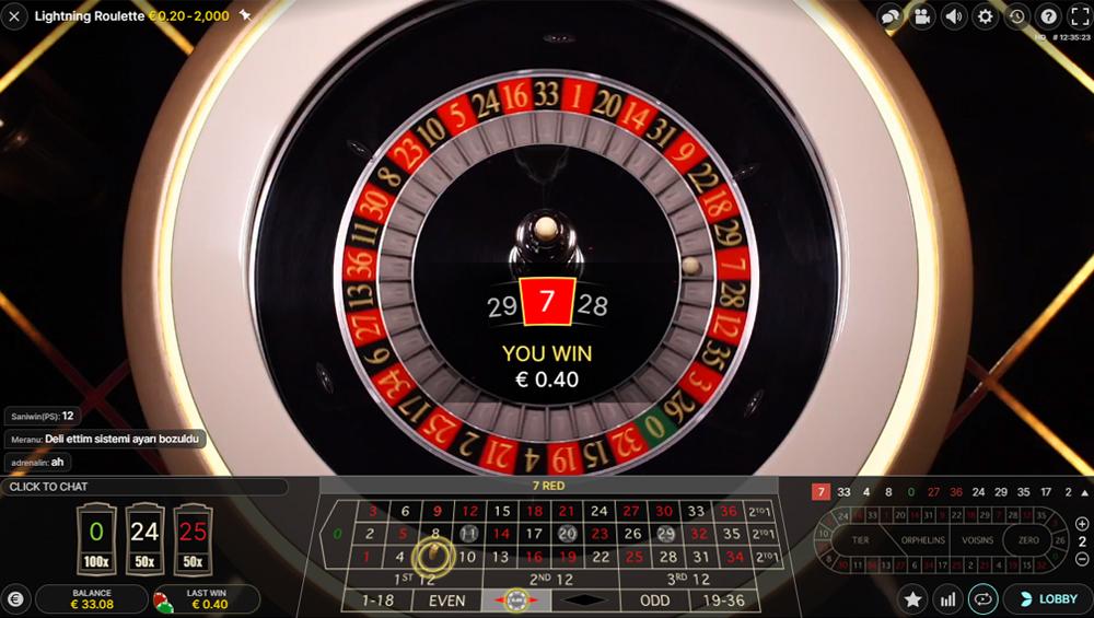 Lightning Roulette Bildschirmfoto