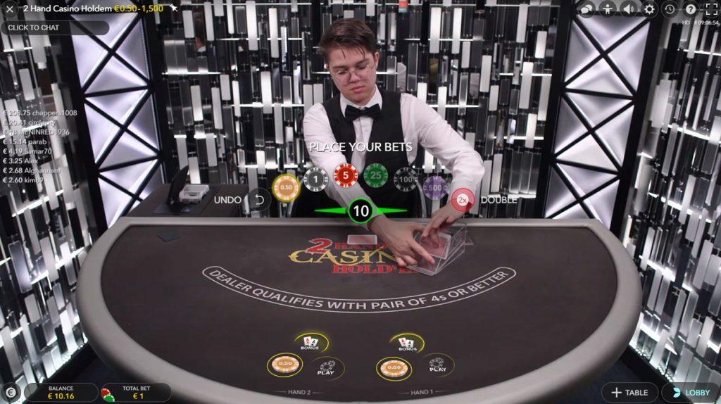 2 hand casino hold'em live