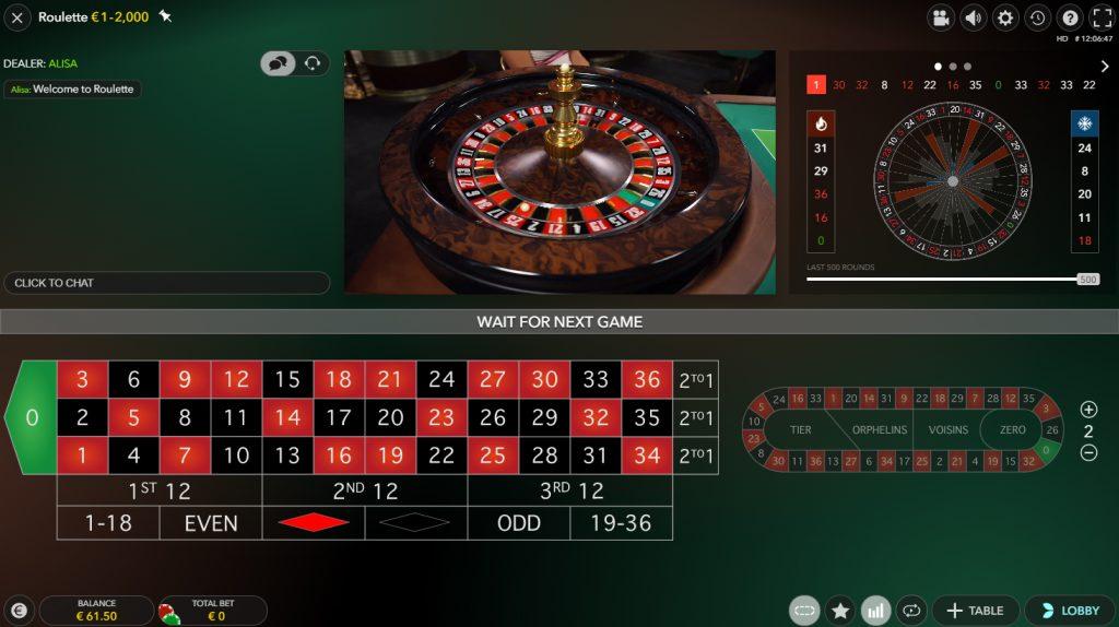 evolution gaming live european roulette