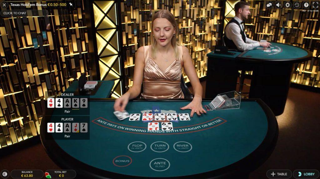 evolution gaming texas hold'em bonus poker