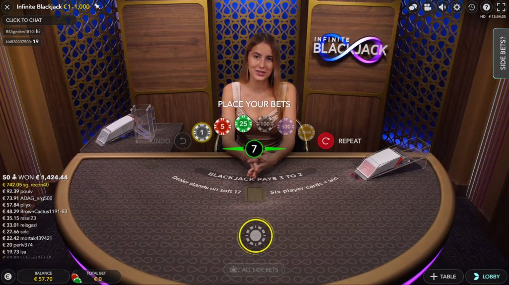 live infinite blackjack spiele