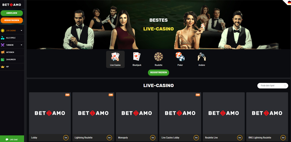 Betamo Live Casino Spiele