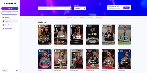 MegaRush live casino spellen
