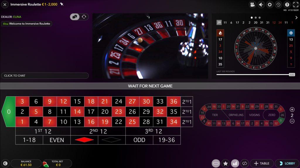 immersive roulette evolution gaming