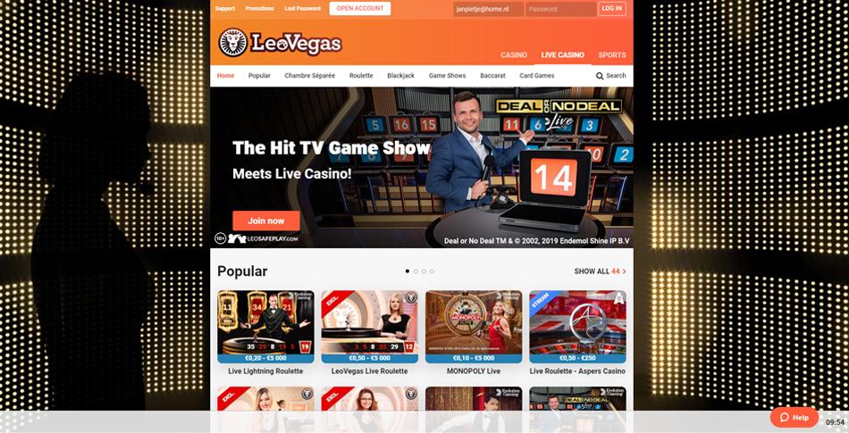 Casino en vivo sección LeoVegas