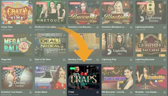 kies een casino dat Craps Live aanbiedt
