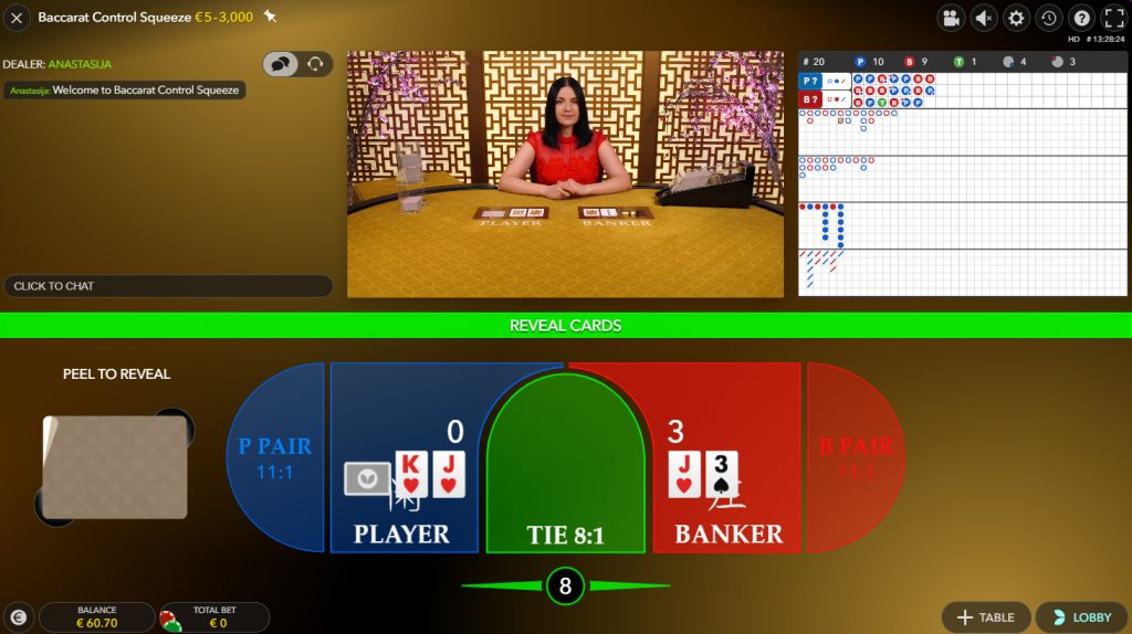 Baccarat Control Squeeze live