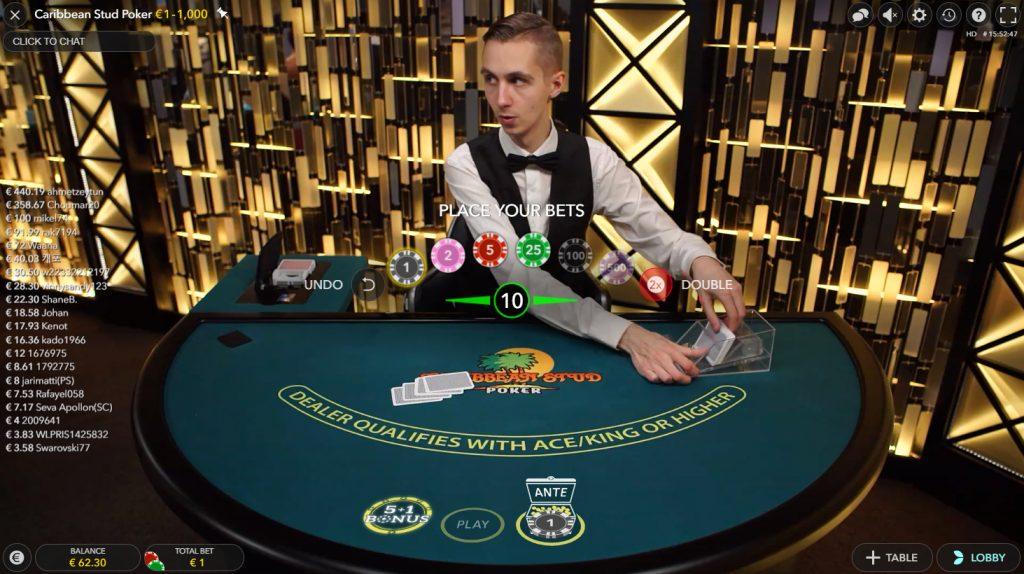 Caribbean Stud Poker en direct