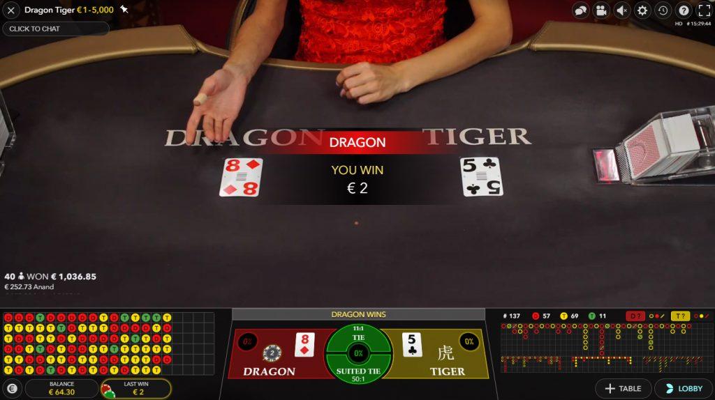 live dragon tiger casino